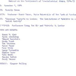 Announcements, 1974-11-07. ...