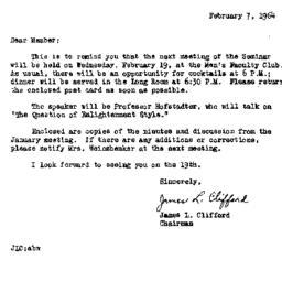 Announcements, 1964-01-07. ...
