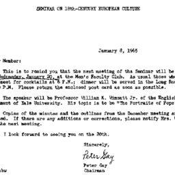 Announcements, 1965-01-08. ...