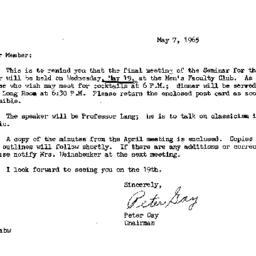Announcements, 1965-05-07. ...