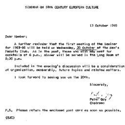 Announcements, 1965-10-13. ...