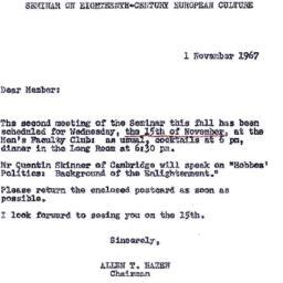 Announcements, 1967-11-01. ...