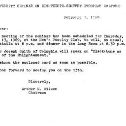 Announcements, 1969-02-03. ...