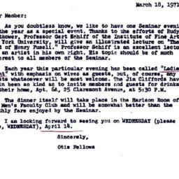 Announcements, 1971-03-18. ...
