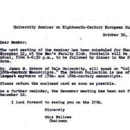Announcements, 1970-10-30. ...