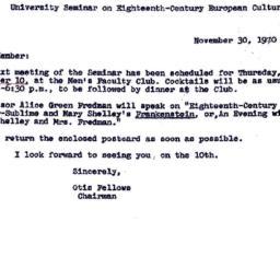 Announcements, 1970-11-30. ...