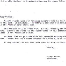 Announcements, 1972-11-03. ...