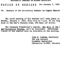 Announcements, 1963-01-07. ...