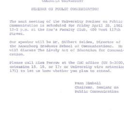 Announcements, 1961-04-28. ...