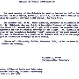 Announcements, 1962-03-23. ...
