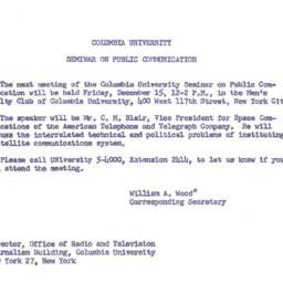 Announcements, 1961-12-15. ...