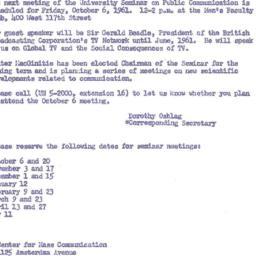 Announcements, 1961-10-06. ...