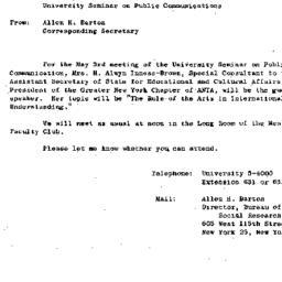 Announcements, 1963-05-03. ...