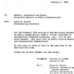 Announcements, 1963-02-15. ...