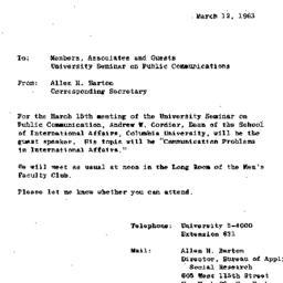 Announcements, 1963-03-15. ...