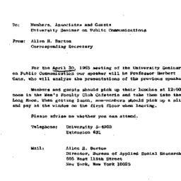 Announcements, 1965-04-26. ...