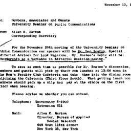 Announcements, 1964-11-13. ...