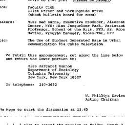 Announcements, 1972-03-03. ...
