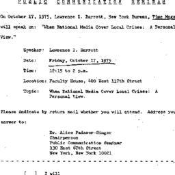 Announcements, 1975-10-17. ...