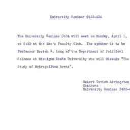 Announcements, 1957-04-01. ...