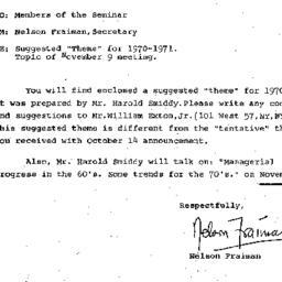 Correspondence, 1970-11-09....