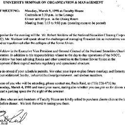 Announcements, 1998-03-09. ...