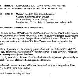 Announcements, 2000-04-10. ...
