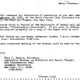 Announcements, 1970-02-08. ...