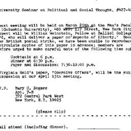 Announcements, 1971-03-12. ...