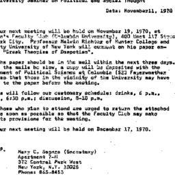 Announcements, 1970-11-11. ...
