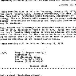 Announcements, 1972-01-12. ...
