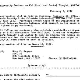 Announcements, 1972-02-08. ...