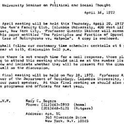 Announcements, 1972-04-16. ...
