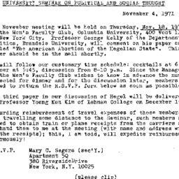 Announcements, 1971-11-04. ...