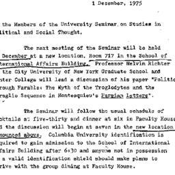 Announcements, 1975-12-01. ...