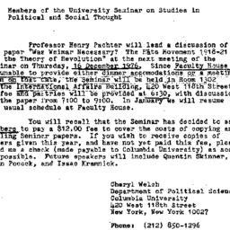Announcements, 1976-11-28. ...
