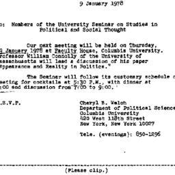 Announcements, 1978-01-09. ...