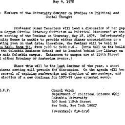 Announcements, 1978-05-04. ...