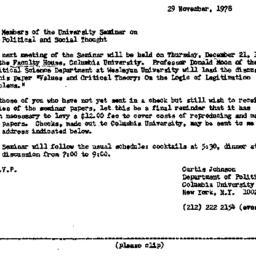 Announcements, 1978-11-29. ...