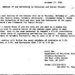 Announcements, 1983-10-27. ...