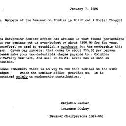 Announcements, 1986-01-07. ...