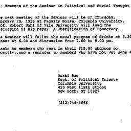 Announcements, 1986-02-05. ...