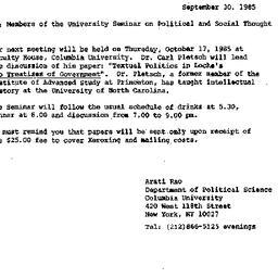 Announcements, 1985-09-30. ...