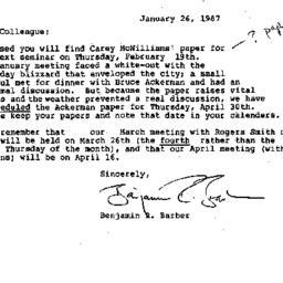 Correspondence, 1987-01-26....