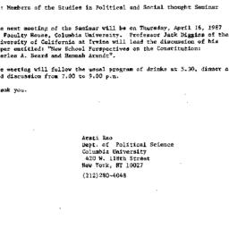 Announcements, 1987-04-02. ...