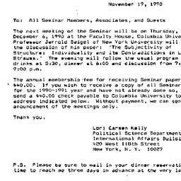 Announcements, 1990-11-19. ...