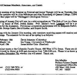 Announcements, 1992-11-19. ...