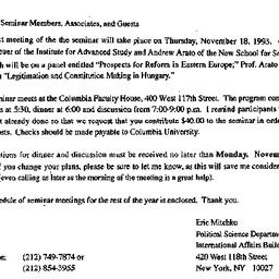 Announcements, 1993-10-21. ...