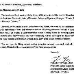Announcements, 2000-04-05. ...