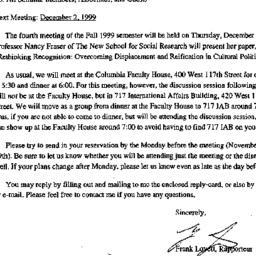 Announcements, 1999-11-22. ...